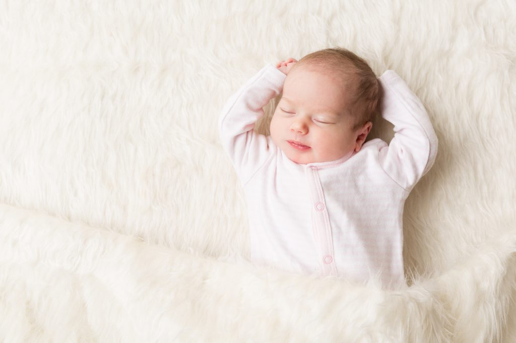 Sleeping Baby, New Born Kid Sleep in Bed, Beautiful Newborn Infant, One month old