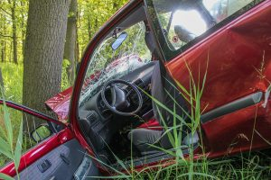 Car wrecked due to a fatal accident.
