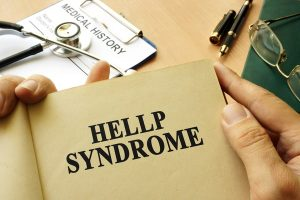HELLP Syndrome noted in a brown document of a physician.