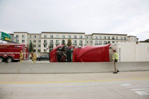Trucks on its side after an accident.